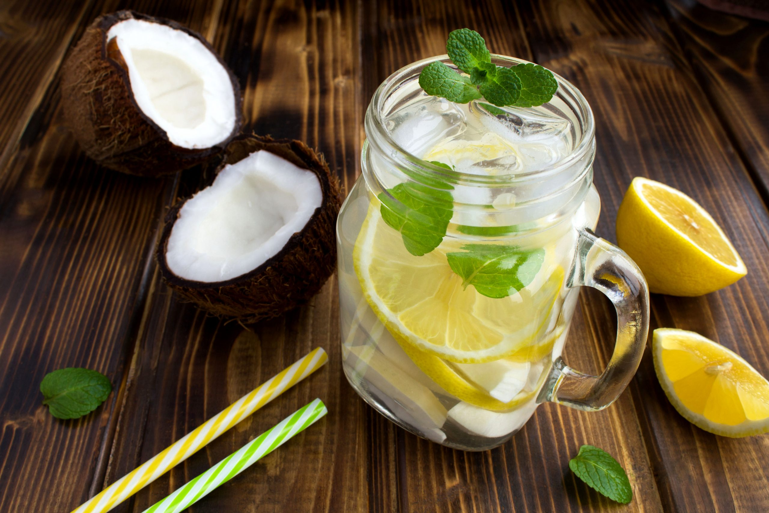 Mint coconut lemon water