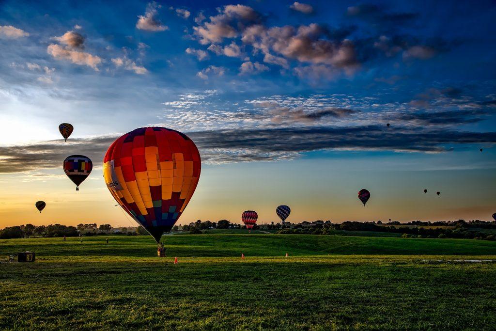 Senior relaxation. Hot air balloons rising